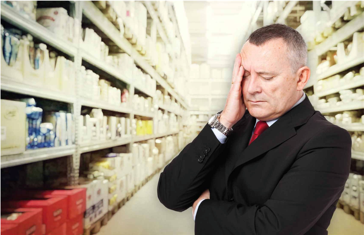 frustrated ceo in warehouse