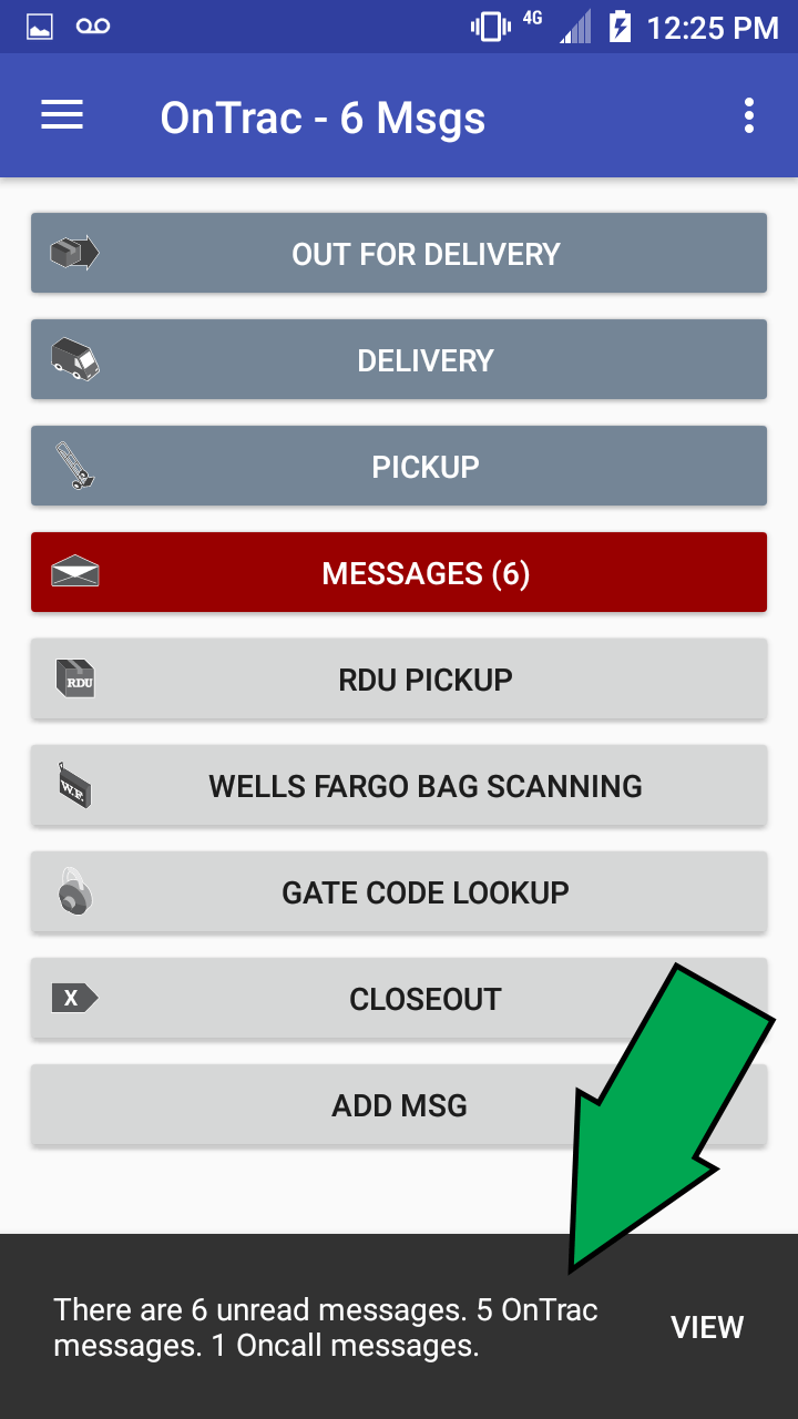 OnTrac Route Delivery App Notification